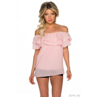 SEXY CHIFFON TOP IN LATINA STYLE WITH FLOUNCES PINK