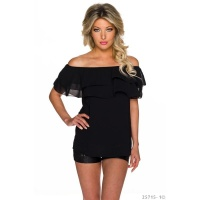 SEXY CHIFFON TOP IN LATINA STYLE WITH FLOUNCES BLACK Onesize (UK 8,10,12)