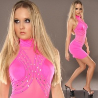 SEXY CLUBBING MINIDRESS WITH RHINESTONES FUCHSIA