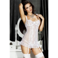 SEXY CHIFFON NEGLIGEE WITH SUSPENDERS INCL. THONG LINGERIE WHITE