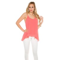 SEXY CHIFFON TOP IN BABYDOLL STYLE WITH CHAIN STRAPS CORAL