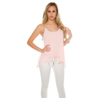 SEXY CHIFFON TOP IN BABYDOLL STYLE WITH CHAIN-STRAPS PINK