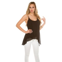 SEXY CHIFFON TOP IN BABYDOLL STYLE WITH CHAIN-STRAPS BLACK
