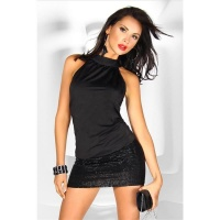 SEXY CLUB-DRESS MINI DRESS WITH GLITTER BLACK