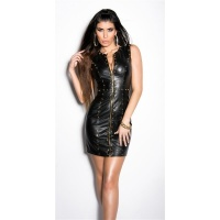 SEXY CLUB MINIDRESS IMITATION LEATHER WITH RIVETS WET LOOK BLACK