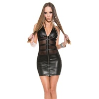 SEXY CLUB MINI DRESS WITH CHIFFON WET LOOK GOGO CLUBWEAR BLACK