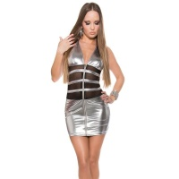 SEXY CLUB MINIDRESS WITH CHIFFON WET LOOK GOGO CLUBWEAR SILVER