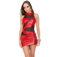 SEXY CLUB MINIDRESS WITH MESH WET LOOK CLUBWEAR RED/BLACK
