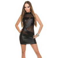 SEXY CLUB MINIDRESS WITH MESH WET LOOK CLUBWEAR BLACK