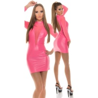 SEXY CLUB MINIDRESS WITH MESH WET LOOK GOGO NEON-FUCHSIA