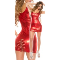 SEXY CLUB MINIDRESS WITH BUCKLES WET LOOK CLUBWEAR RED UK 14 (L)