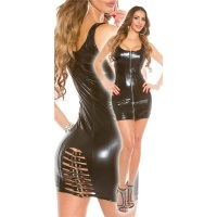 SEXY CLUB MINIDRESS WITH BUCKLES WET LOOK CLUBWEAR BLACK