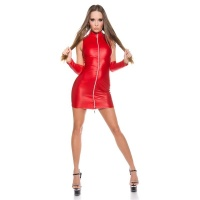 SEXY CLUB MINIKLEID MIT ZIPPER + ARMSTULPEN WETLOOK GOGO ROT