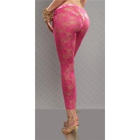 SEXY CLUBSTYLE 7/8 LEGGINGS MADE OF LACE GOGO CLUBWEAR FUCHSIA UK 12/14 (L/XL)