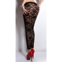 SEXY CLUBSTYLE LEGGINGS MADE OF LACE GOGO CLUBWEAR BLACK UK 10/12 (S/M)