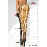SEXY CLUBSTYLE LEGGINGS WITH HOLE PATTERN GOGO CLUBWEAR GOLD Onesize (UK 8,10,12)