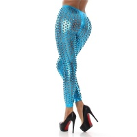 HOT CLUBWEAR LEGGINGS WITH PEEKABOO DESIGN METALLIC-LOOK...