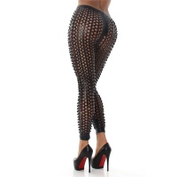 HOT CLUBWEAR LEGGINGS WITH PEEKABOO DESIGN WETLOOK GOGO...