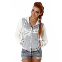 SEXY COLLEGE SWEAT-JACKET WITH HOOD LIGHT GREY/WHITE