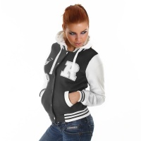 SEXY COLLEGE SWEAT-JACKET EMBROIDERY HOOD DARK GREY/WHITE UK 8/10 (S/M)