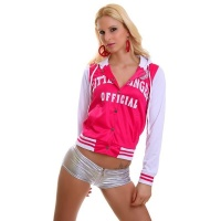 SEXY COLLEGE SWEAT-JACKET EMBROIDERY HOOD FUCHSIA/WHITE UK 12 (M)