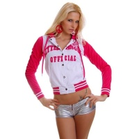 SEXY COLLEGE SWEAT-JACKET EMBROIDERY HOOD WHITE/FUCHSIA