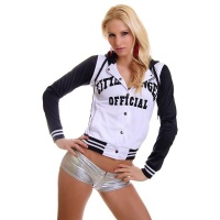 SEXY COLLEGE SWEAT-JACKET EMBROIDERY HOOD WHITE/BLACK