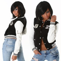 SEXY COLLEGE SWEAT-JACKET WITH EMBROIDERY BLACK / WHITE UK 10/12 (M/L)
