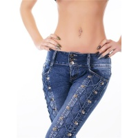 SEXY SKINNY CRASHED-LOOK DRAINPIPE JEANS WITH LACINGS...