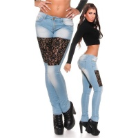 SEXY SKINNY DRAINPIPE JEANS WITH LACE AND RIVETS LIGHT BLUE