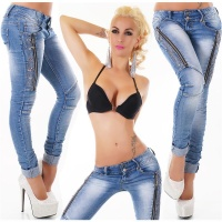 SEXY SKINNY CRASHED-LOOK DRAINPIPE JEANS WITH ZIPPERS BLUE