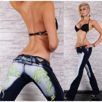 SEXY CRAZY AGE BOOTCUT JEANS WITH TATTOO EMBROIDERY DARK...
