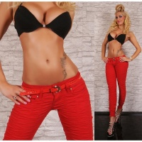 SEXY DRAINPIPE JEANS WITH RUFFLES BELT RED
