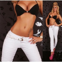 SEXY DRAINPIPE JEANS WITH RUFFLES BELT WHITE