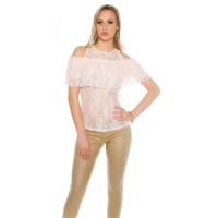 SEXY LADIES COLD SHOULDER LACE SHIRT WITH FLOUNCES SALMON