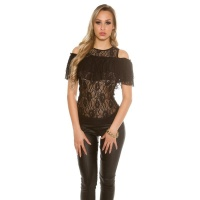 SEXY LADIES COLD SHOULDER LACE SHIRT WITH FLOUNCES BLACK