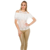 SEXY LADIES COLD SHOULDER LACE SHIRT WITH FLOUNCES WHITE