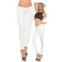 SEXY LADIES PANTS IN LEATHER-LOOK WITH LACING WET LOOK WHITE