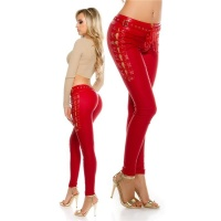 SEXY LADIES PANTS IN LEATHER-LOOK WITH LACING WET LOOK RED