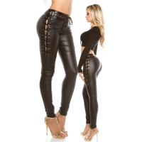 SEXY LADIES PANTS IN LEATHER-LOOK WITH LACING WET LOOK BLACK