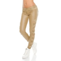 SEXY LADIES PANTS IN LEATHER-LOOK WITH LACE WET LOOK BEIGE