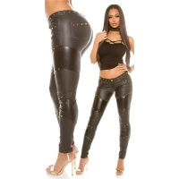 SEXY SKINNY LADIES TROUSERS IN LEATHER LOOK WITH RIVETS...