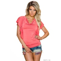 SEXY LADIES SHIRT WITH SHORT FLOUNCE SLEEVES CORAL