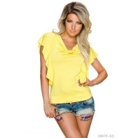 SEXY LADIES SHIRT WITH SHORT FLOUNCE SLEEVES YELLOW