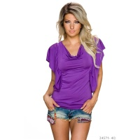 SEXY LADIES SHIRT WITH SHORT FLOUNCE SLEEVES PURPLE