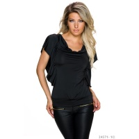 SEXY LADIES SHIRT WITH SHORT FLOUNCE SLEEVES BLACK