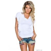 SEXY LADIES SHIRT WITH SHORT FLOUNCE SLEEVES WHITE