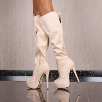 SEXY LADIES VELOUR BOOTS PLATFORMS SHOES HIGH HEELS BEIGE