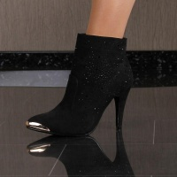 SEXY HIGH HEELS ANKLE BOOTS SHOES VELOUR BLACK