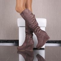 SEXY LADIES BOOTS MADE OF VELOUR WITH WEDGE HEEL KHAKI